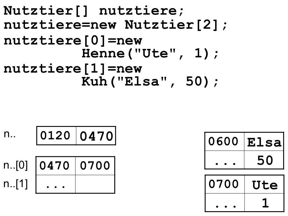 Nutztier[] nutztiere; nutztiere=new Nutztier[2]; nutztiere[0]=new